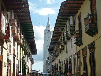 Colombian coffee growing axis - Balconies in the street Real in Santuario, Risaralda.