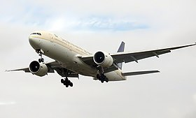 Saudi Arabian Airlines B777-268ER (HZ-AKF) landing at London Heathrow Airport.jpg