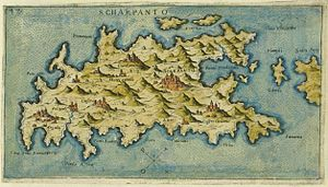 Karpathos - Map of Karpathos (Scarpanto), by Giacomo Franco, 1597