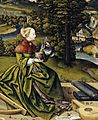 Schaffner, Martin - Painted tabletop for Erasmus Stedelin, detail woman with musical instruments - 1533.jpg