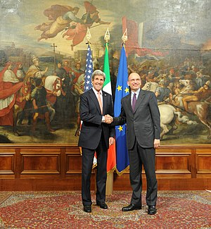 Enrico Letta - Enrico Letta receiving U.S. Secretary of State John Kerry in Rome, 2013.