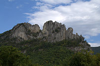 View of Seneca Rocks from the parking next to ...