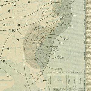 1897 Atlantic hurricane season - Image: September 22, 1897 tropical storm 3 weather map