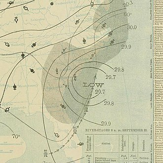 1897 Atlantic hurricane season - Image: September 22, 1897 tropical storm 3 weather map