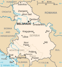 Serbia and Montenegro map from CIA World Factbook, circa 2005