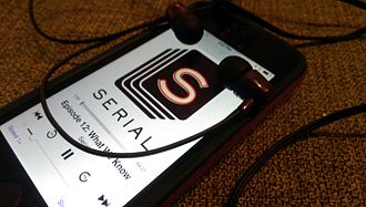 Podcast - The Serial podcast being played through an iPhone