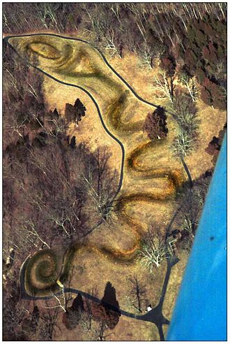 Effigy mound - Great Serpent Mound, Ohio, constructed ca. 1070