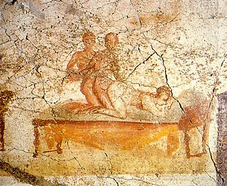 Threesome (from Pompeii) arranged in the manner described by Catullus, poem 56 Sexual scene on pompeian mural 2.jpg