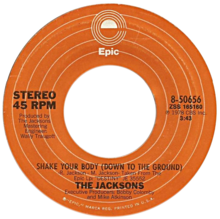Description de l'image Shake Your Body (Down to the Ground) by The Jacksons US vinyl A-side.png.