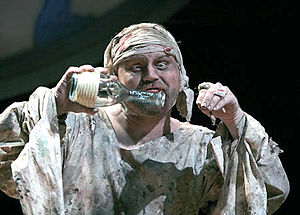 Caliban - Caliban (Todd Scofield) has a conversation with his imaginary friends in Folger Theatre's production of Shakespeare's The Tempest in 2007.