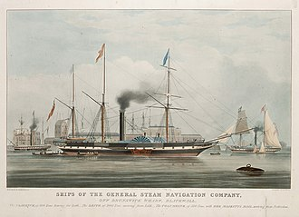 General Steam Navigation Company - Ships of the General Steam Navigation Company, off Brunswick Wharf, Blackwall. the Clarence, the Leith, and the Columbine