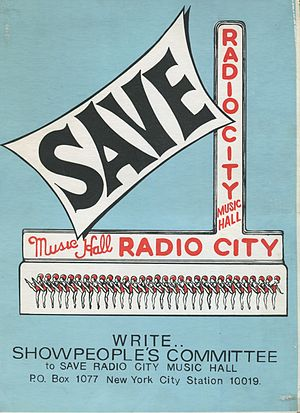 Showpeople's Committee to Save Radio City Music Hall - Poster