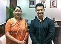 Shri Aamir Khan meeting the Minister of State (Independent Charge) for Women and Child Development, Smt. Krishna Tirath, in New Delhi on July 04, 2011.jpg