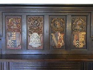 Simonsbath House - Fortescue family 17th-century heraldic overmantel from Wear Giffard Hall