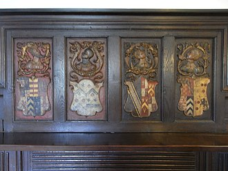 Simonsbath House - Fortescue family 17th-century heraldic overmantel from Wear Giffard Hall