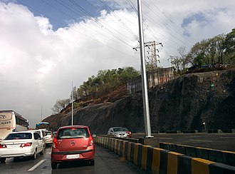 Rockfall - Steel nets installed for rockfall protection on Sion Panvel Highway in India.