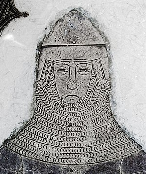 Maurice Russell, knight - Sir Maurice Russell, a typecast not a portrait, displays the serious and dignified mien expected of the mediaeval knight, as for example portrayed in Chaucer's Canterbury Tales. Detail from Dyrham brass