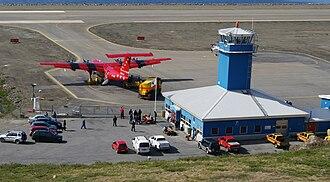 "Sisimiut Airport - de Havilland Canada Dash-7 ""Taateraaq"" of Air Greenland at Sisimiut Airport"