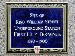 Site of king william street underground station first city terminus