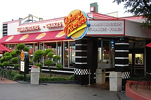 English: Johnny Rockets restaurant at Six Flag...