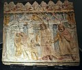 Slab for the base of an Aedicule depicting a tragic scene, found in Rome in the burial chamber of P.Numitorius Hilarus on the Via Salaria, late 1st century BC, polychrome terracotta, Palazzo Massimo alle Terme, Rome (9644579822).jpg