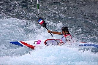 Canoeing at the 2012 Summer Olympics - Image: Slalom canoeing 2012 Olympics W K1 FRA Emilie Fer
