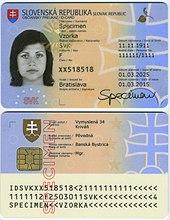 Carta d'identità slovacca (anteriore)