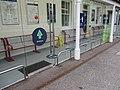 Social distancing notices during the COVID-19 pandemic in Garforth railway station (17th July 2020).jpg