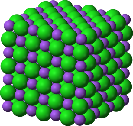 Crystal structure of sodium chloride (table salt) Sodium-chloride-3D-ionic.png
