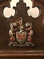 Somerville College Oxford, Coat of arms on Chapel chair.jpg