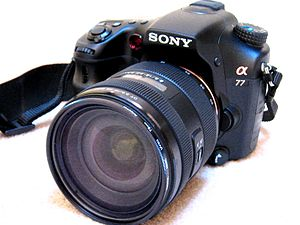 Sony Alpha 77-Front-with Sony f2.8 16-50 lens.JPG