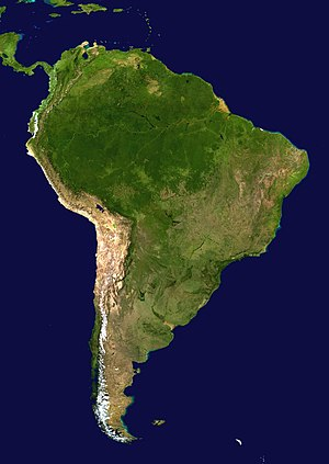 Geography of South America - South America satellite orthographic.