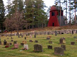 Klokketårnet ved Spannarboda kirke.