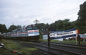 Special train for resumed Montrealer at Amherst, July 17, 1989.jpg