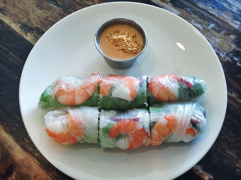File:Spring rolls with peanut sauce.jpg