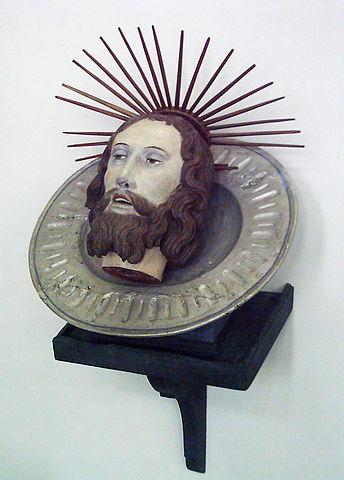 Голова Иоанна Крестителя, раскрашенное дерево, Германия