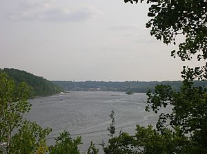 The St. Croix River, looking downstream toward Stillwater, Minnesota
