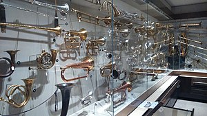 St Cecilia's Hall - Image: St Cecilia's Hall brass instruments display