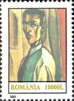 Victor Brauner - Self-portrait (1923) on a 2003 Romanian stamp