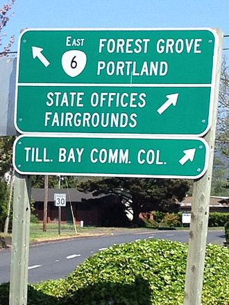 Oregon Route 6 - Start of Oregon Route 6 at Tillamook.