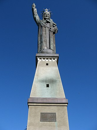 Lens, Switzerland - Statue du Christ Roi above Lens village