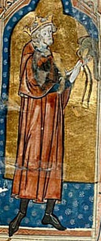 The Anarchy - 14th century depiction of King Stephen with a hunting bird