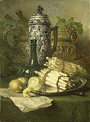 Still-life with Asparagus, Lemon, Covered Beaker, and Wine Cooler