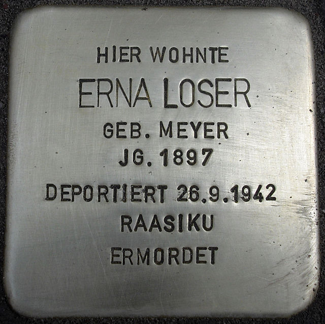 Photo of Erna Loser brass plaque