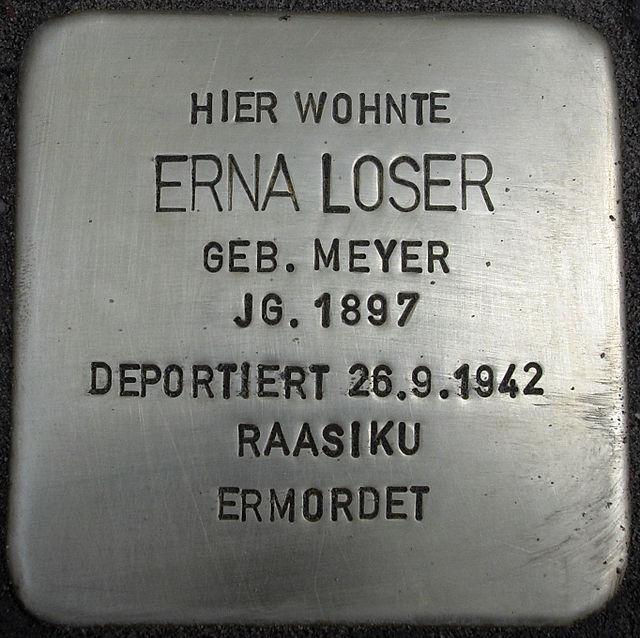 Photo of Erna Loser brass plaque