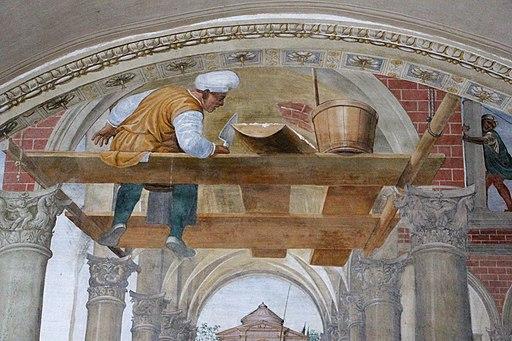 Le storie di San Benedetto, scena 11 - Come Benedetto compie la edificazione di dodici monasteri