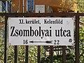 Street sign, Zsombolyai street, 2018 Újbuda.jpg