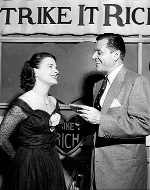 """Strike It Rich (radio-TV) - Jane Wilson stands in for a contestant in the """"Helping Hand"""" segment, 1952."""