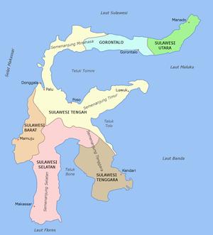 Politische Karte Sulawesis