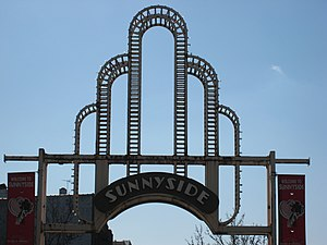 Sunnyside, Queens - The gantry over 46th Street at Queens Boulevard is located in the heart of Sunnyside